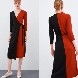 Zara Color Block Wrap Dress